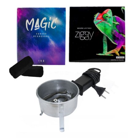 KIT CARVÃO MAGIC 1KG + FOGAREIRO + ALUMINIO ZIGGY 25 FOLHAS