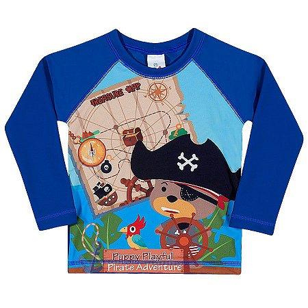 3cc8deb43 Camiseta Infantil Com Proteção Solar Surfista Urso PIrata Toddler ...