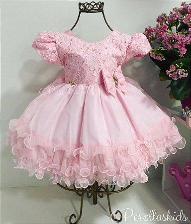 Vestido Para Bebê Rosa Festa Casamento P Ao G Menina Bonita