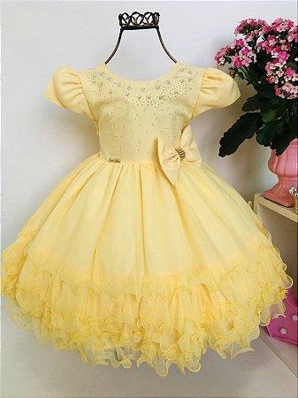 Vestido De Festa Infantil Amarelo Princesa Luxo Menina Bonita 123 Anos