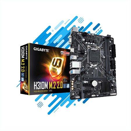 PLACA MÃE GIGABYTE H310M 2.0 M-ATX LGA 1151 DDR4 2666MHZ M.2 HDMI USB 3.1