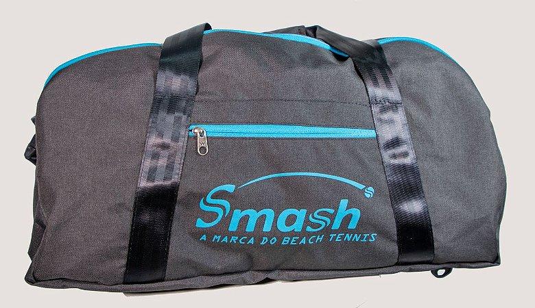 Raqueteira Smash by Wollner Media Preta com Azul Petróleo
