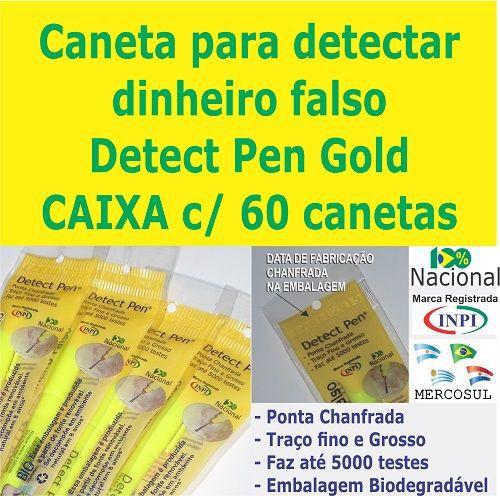 CAIXA c/ 60 canetas Detect Pen Gold. Detector de dinheiro falso para revender em sua loja