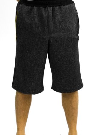 Short em moleton com fecho no bolso chumbo/mescla