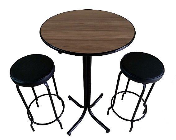 Conjunto Mesa Bistrô Alta Tampo Nogal com 2 Banquetas Sem Encosto Assento Fofão