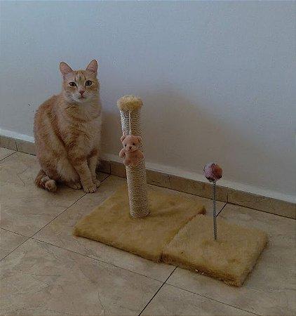 Conjunto Arranhador Poste + Arranhador Mola Para Gatos
