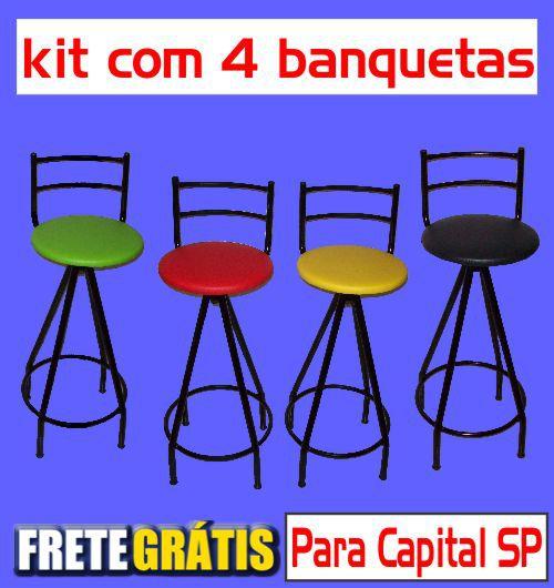 Banqueta Giratória Alta (kit com 4 unidades)