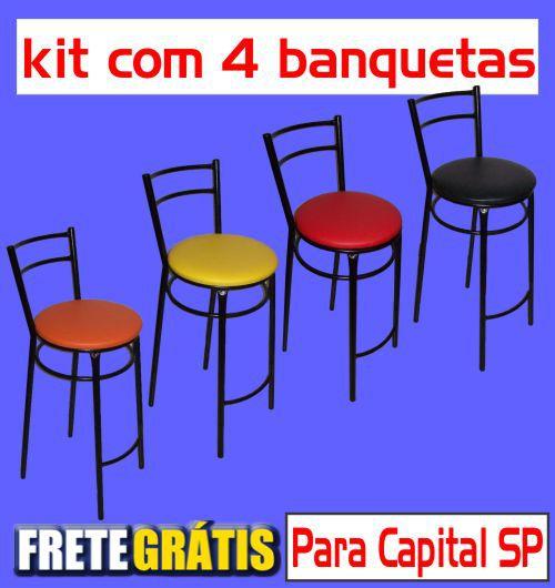 Banqueta Barra Dupla Reforçada Alta (kit com 4 unidades)