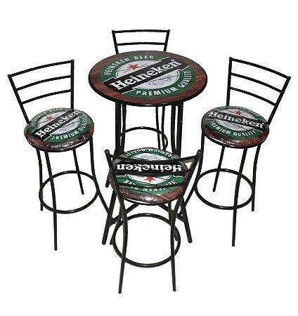 Conjunto Mesa Bistrô Alta com 4 Banquetas (Personalizado)