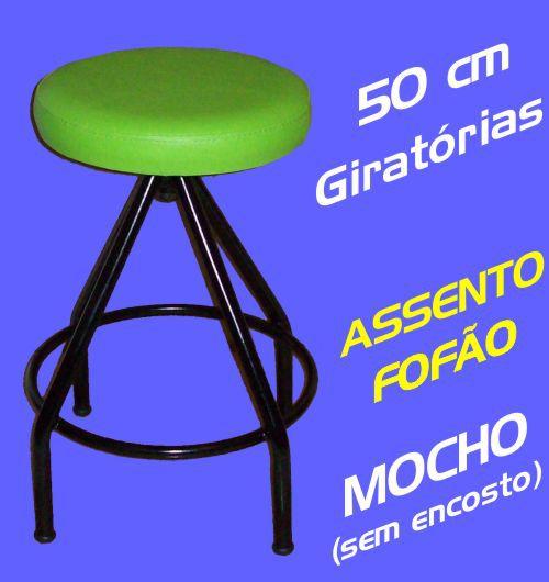 Banqueta Mocho Giratória Baixa 50 Cm Assento Espuma Fofão
