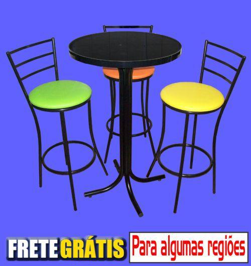 Conjunto Mesa Bistrô Alta com 3 Banquetas Stander 3 Tiras