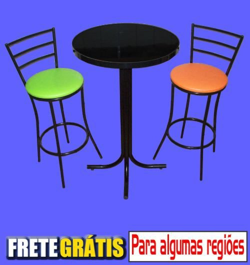 Conjunto Mesa Bistrô Alta com 2 Banquetas Stander 3 Tiras