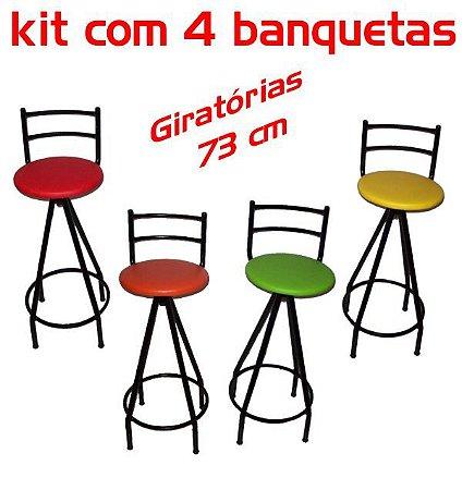 Banqueta Giratória Alta 4 unidades