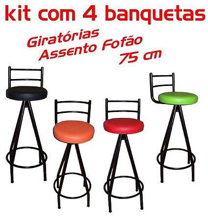 Banqueta Giratória Alta Assento Fofão 4 unidades
