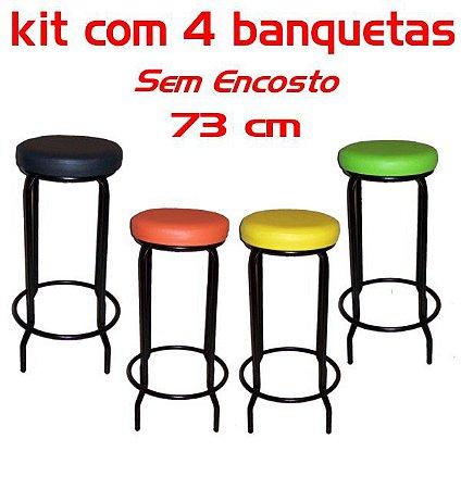Banqueta Alta sem Encosto 73 Cm Assento Fofão (4 unidades)