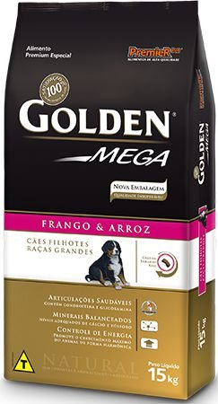 Ração Golden Mega Para Cães Filhotes de Raças Grandes Sabor Frango e Arroz - 15,0kg