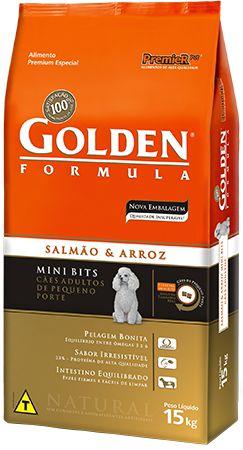 Ração Golden Formula Mini Bits Para Cães Adultos de Raças Pequenas Sabor Salmão e Arroz