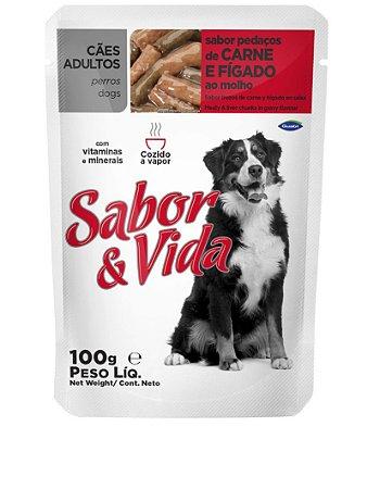 Ração Sabor e Vida Para Cães Adultos Sabor Carne e Figado Sachê - 100gr