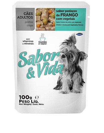 Ração Sabor e Vida Para Cães Adultos Sabor Frango e Vegetáis Sachê - 100gr