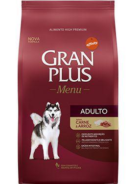 Ração Gran Plus Menu Para Cães Adultos Sabor Carne e Arroz