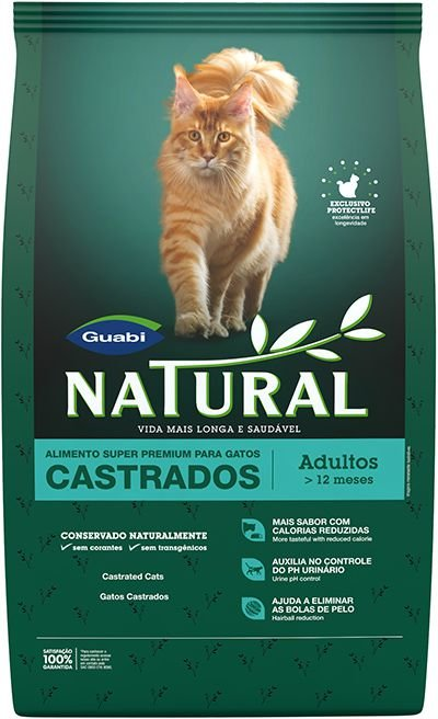 Ração Guabi Natural Para Gatos Adultos Castrados