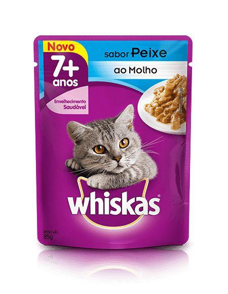 Ração Whiskas Para Gatos Adultos ou Senior a Partir de 7 Anos Sabor Peixe Sachê - 85g