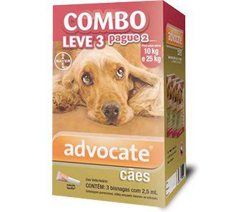 Antiplugas Advantage Combo Leve 3 e Pague 2 Para Cães de 10kg a 25kg 2,5ml