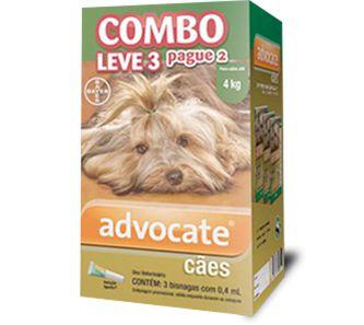 Antiplugas Advantage Combo Leve 3 e Pague 2 Para Cães Até 4kg - 0,4ml