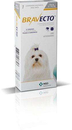 Antipulgas e Carrapatos Bravecto MSD Para Cães de 2kg a 4,5kg