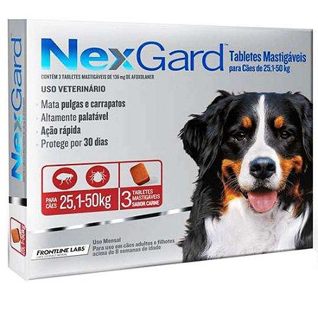 Combo Antipulgas e Carrapatos Nexgard Merial Para Cães de 25,1kg Até 50,0kg