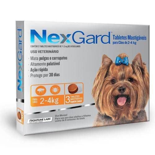 Combo Antipulgas e Carrapatos Nexgard Merial Para Cães de 2,0kg Até 4,0kg