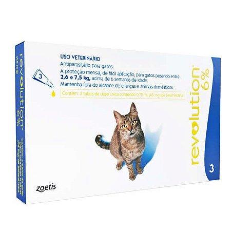 Antiparasitário Revolution 6% Zoetis Para Gatos de 2,6kg a 7,5kg