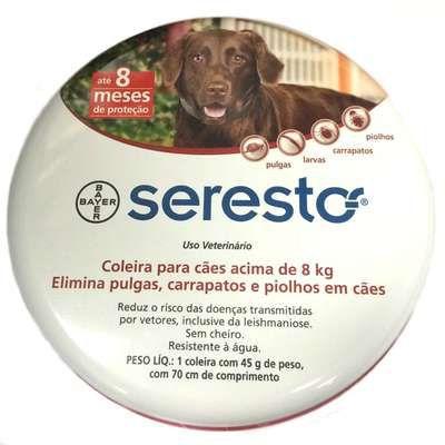 Coleira Antipulgas e Carrapatos Seresto Bayer Para Cães e Gatos Acima 8,0kg