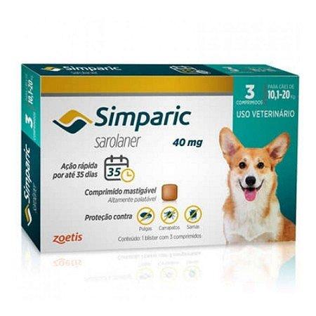 Antipulgas Simparic 40mg Zoetis Para Cães de 10,1kg Até 20,0kg