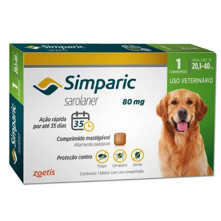 Antipulgas Simparic 80mg Zoetis Para Cães de 20,1kg Até 40,0kg
