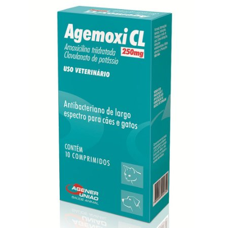 Antibacteriano Agemoxi CL Agener 250ml Com 10 Comprimidos Para Cães e Gatos