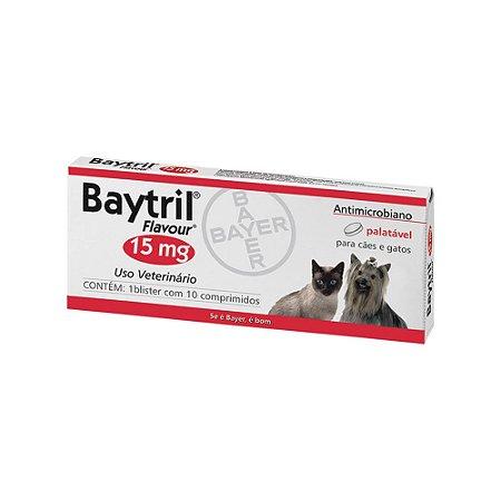 Antibiótico Baytril Flavour Bayer 15mg Com 10 Comprimidos