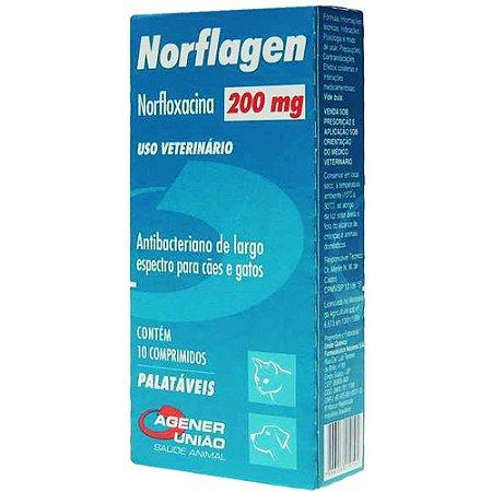 Antibacteriano Norflagen 200mg Agener União Com 10 Comprimidos