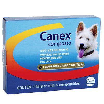 Vermifugo Canex Composto Ceva Para Cães de Até 10kg Com 4 Comprimidos