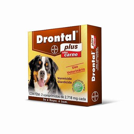 Vermífugo Drontal Plus Bayer Para Cães Sabor Carne de 35,0kg Com 2 Comprimidos