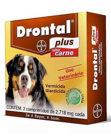 Vermífugo Dontral Plus Bayer Sabor Carne Para Cães de 35,0kg Com 2 Comprimidos