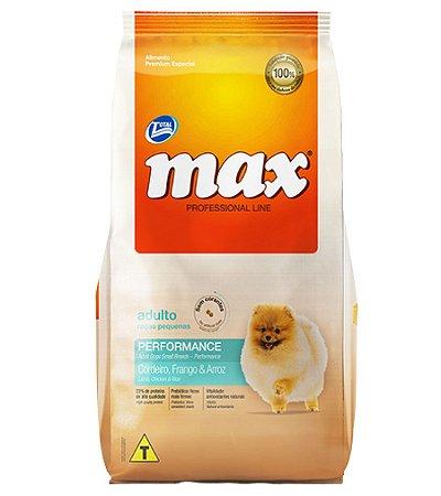Ração Max Professional Line Cães Adultos de Raças Pequenas Sabor Cordeiro,  Frango E Arroz
