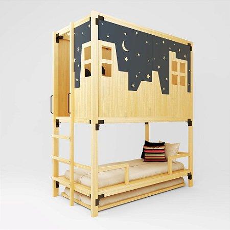 MINICAMA Infantil Minitoca Painel Skyline com Escada MARINHEIRO