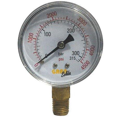 Manometro Oxigenio - Relogio regulador para gás 315 BAR 4500 PSI