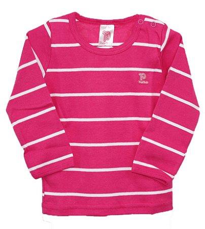Camiseta manga longa listrada em malha nas cores pink branco - Pulla Bulla de7b3f911efa7