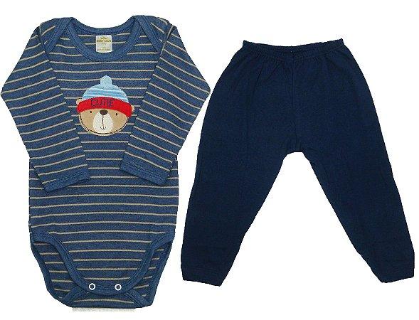 Conjunto de Body e calça na cor azul  Body manga longa e calça sem ... cf358dbf5f6b6