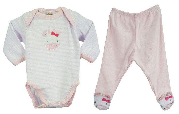 0e4e3a360 Conjunto de Body e calça na cores rosa claro/branco: Body manga longa e