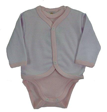c9016e645 Conjunto de Body + calça + casaquinho nas cores branco/rosa claro : Body  manga