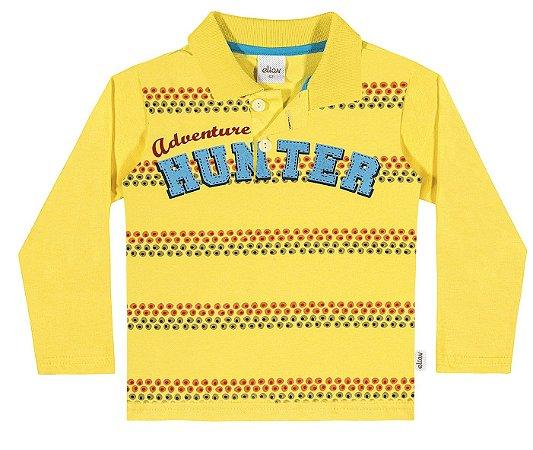 76bd77b97e Camiseta Polo Masculina Infantil Manga Longa Amarela - Elian - Kids ...