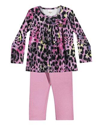 54b52bfca7 Conjunto Blusa Manga Longa e Legging em Cotton Menina Pink Mesclado Pink -  Elian